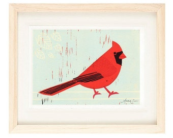 CARDINAL Linocut Reproduction Art Print: 4 x 6, 5 x 7