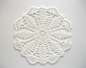 Crochet Doily White Cotton Lace with Fan Edge Heirloom Quality