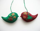 Felt Ornaments Folk Art Bird Easter or Home Decoration Hand Embroidered Handsewn 2 pieces