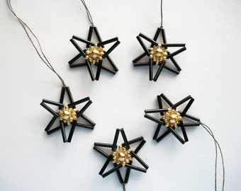Star Ornaments Black Beaded Hangings with Golden Center 5 pcs