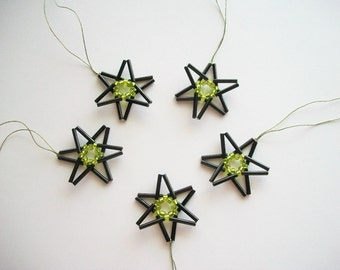 Black Star Ornaments Beaded Hangings with Green Center 5 pcs