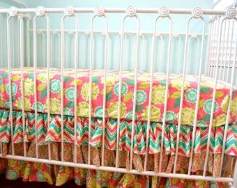 SALE- Ready to Ship- Pink Chevron 3 Tier Ruffle Crib Bedding Set- Bumperless