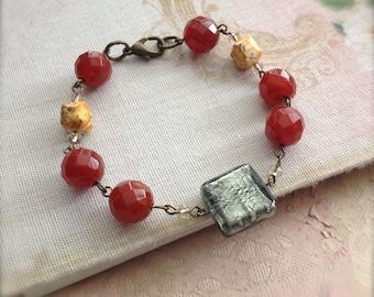Bead Bracelet Carnelian Gemstone Red Orange Wellbeing Jewelry Gemstone Bracelet Clearance Sale