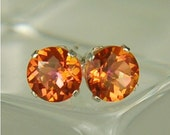 MysticTopaz Stud Earrings Sterling Silver 6mm Round 2ctw Orange