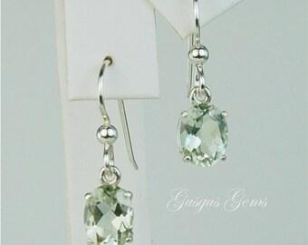 Prasiolite (Green Amethyst) Dangle Earrings Sterling Silver 9x7mm Oval 3.30ctw