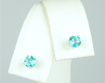 Apatite Stud Earrings Sterling Silver 4mm Round .65ctw