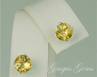 Scapolite Yellow Sterling Silver Studs 6mm 1.45ctw