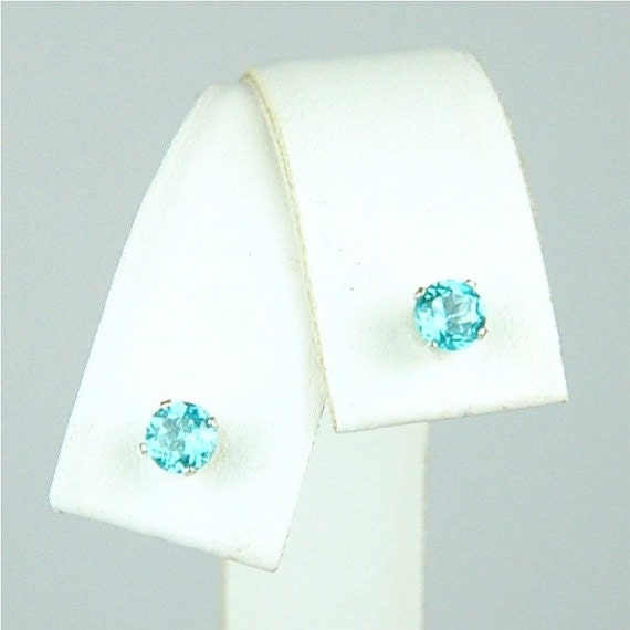 Apatite Stud Earrings Sterling Silver 4mm Round .55ctw