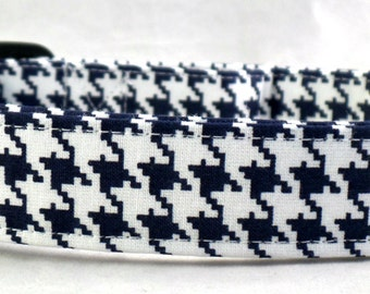 Dark Navy Blue and White Houndstooth Dog Collar