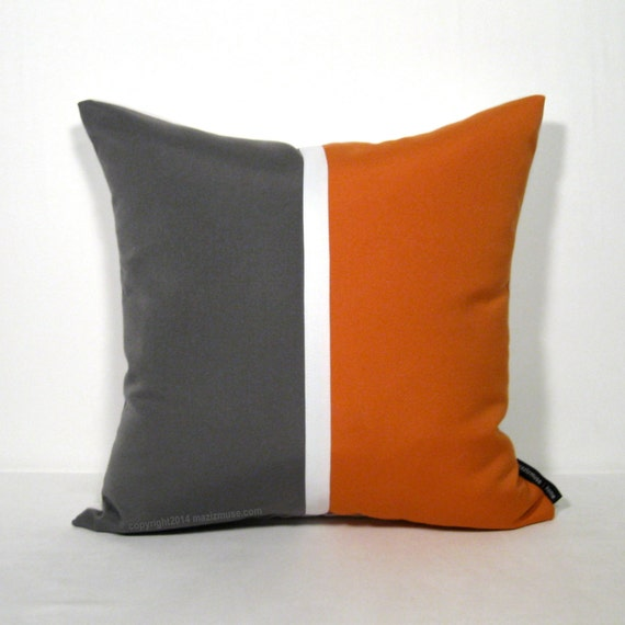 Modern Gray Pillows : Color Block Pillow Cover Grey Orange Modern Outdoor by Mazizmuse