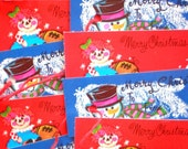 Vintage CHRISTMAS GIFT TAGS - Ten 1950s Snowman and Raggedy Ann Gift Cards