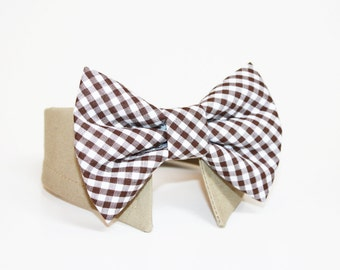 Gingham Dog Bow Tie- Shirt and Bow Tie Collar-  Wedding Dog Tie- Brown Gingham