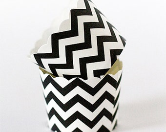 Baking Cups, 20 Black Chevron Cupcake Paper Cups, Party, Candy Cups, Paper Nut Cups, Cupcake Liners, Black Cupcake Cups, Paper Muffin Cup