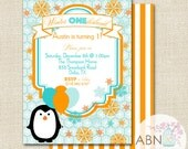 Winter Wonderland Penguin Birthday Invitation - PRINTABLE - By A Blissful Nest