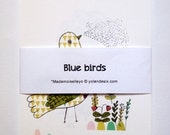 Blue birds 12 cards - drawing of the wall calendar 2014