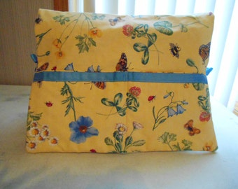 Pretty Yellow Floral  Sewing Machine Cover  -  Dust Cover - Quilted
