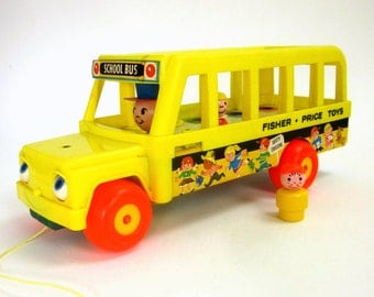 Fisher Price School Bus 1965 / Vintage Chime Pull Toy