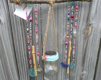 Sparkling Glass Beaded Branch Suncatcher Windchime with Solar Light Indoor Outdoor Art Copper Wrapped Sea Glass