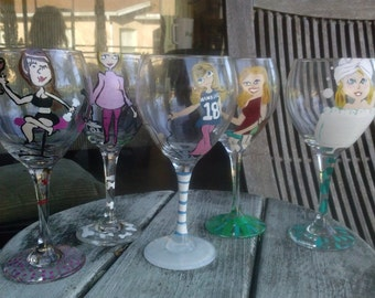 Girlfriend wine glasses, set of 5