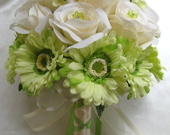 "Wedding Bouquet Bridal Silk flowers CREAM GREEN DAISY 17 piece Package Artificial flower Decoration centerpieces ""Roses and Dreams"""