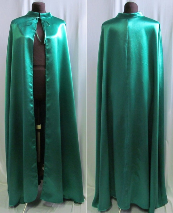 Adult Size Cape Costume Cosplay Green Satin Size S M L XL