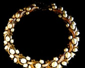 Reserved for JuliaSpectacular 1950s necklace Pearls and Crystals Trifari  - choker necklace with pearls and gold Trifanium -