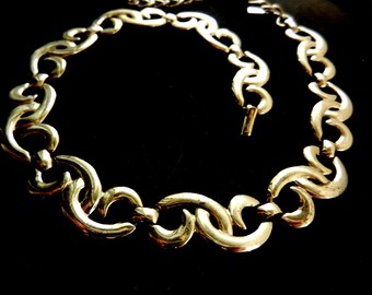 Stylish Necklace collier MONET 1960s - Sinuous Silver Link  - Very chic -Art.141/3--