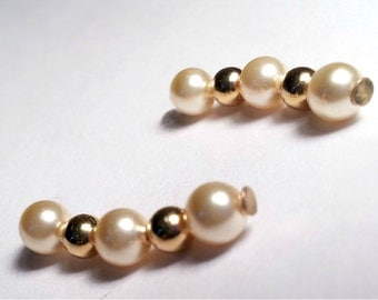 Light Gold Pearl Earpins - Ear Sweeps - Bobby Pin Earrings Perfect for Bridesmaids