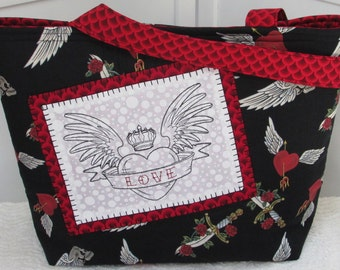 Skulls and Daggers Large Tote Bag Black and Red Heart with Wings Tattoo Purse Ready to Ship