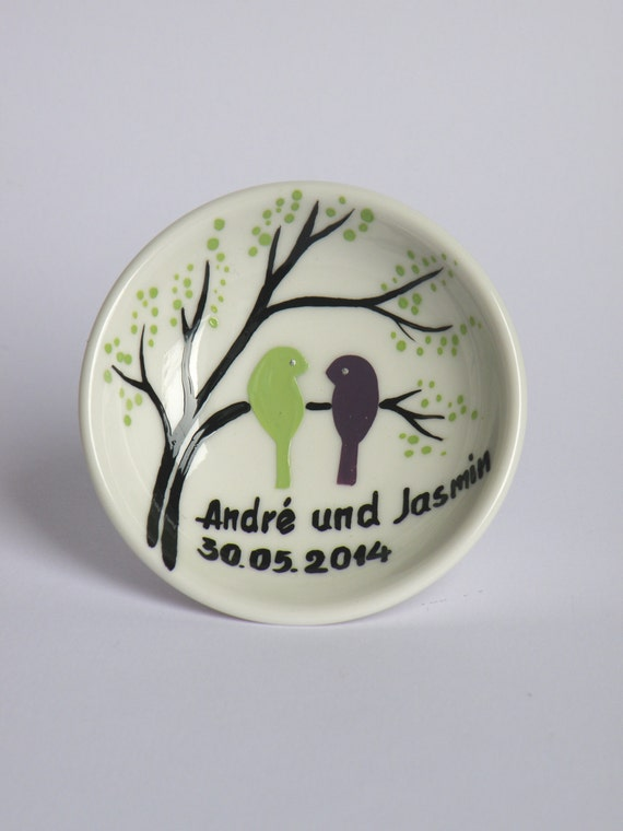 Hand painted Wedding Ring Pillow Alternative , Wedding Ring Dish Light green and purple birds on branch
