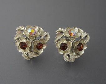 Rhinestone Earrings, Rhinestone Flower Earrings, Gold Earrings, Rhinestone Leaf Earrings, Brown Earrings