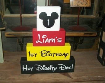Personalized Four Piece Disney Minnie OR Mickey Mouse Happy Birthday Wood Sign Name Blocks 1st Birthday Party Centerpieces Keepsake