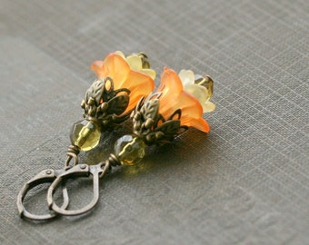 Orange  Earrings,  Orange Flower Earrings, Orange Jewelry, Lucite Earrings, Jewelry under 20, Bridesmaid Earrings - Amelia