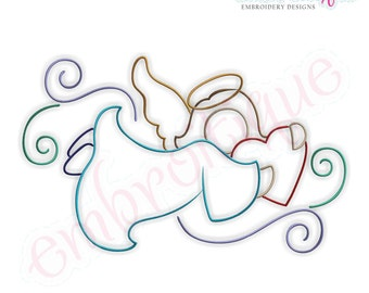 Angel with Curls 4- Instant Email Delivery Download Machine embroidery design