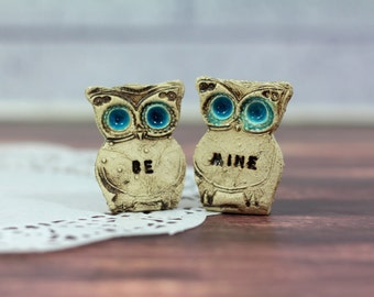Owls Wedding cake topper - a pair of BE MINE owls Cute cake topper
