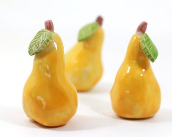 Yellow Ceramic pears, Home decor, Cottage chic, Decorative ceramic pear, Ceramic fruit, Hostess gift, Spring decor, Table centerpiece