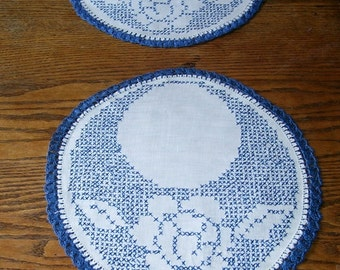 Vintage 2 Round Cotton Doilies, Hand Crocheted Blue and White Cross Stitch, White Rose, Blue Trim, Parlor Table, French Country,  Decor,