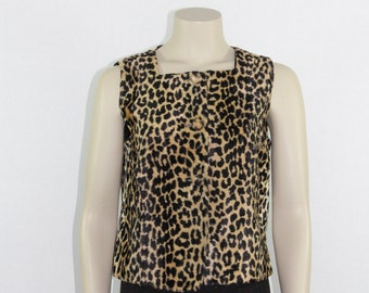 SALE......Vintage Vest - 1960's LEOPARD Sleeveless Top - Charm of Hollywood