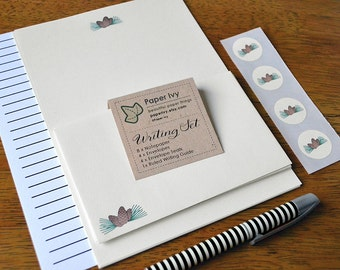 Letter Writing Stationery Set - Pine Cones on cream paper