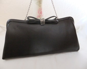 Vintage Evening Bag Dark Brown Clutch Purse with Chain Handle and Bow Vinyl Formal Retro Accessories