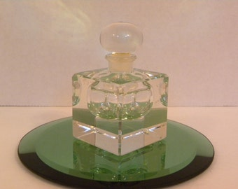 Vintage Perfume Bottle Cut Lead Crystal with Glass stopper -- 1940's Square Art Deco Art Nouveau Design