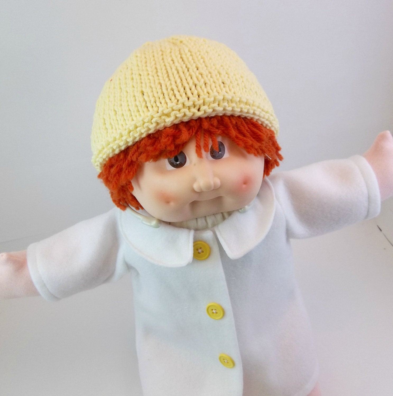 Knitting Pattern For Cabbage Patch Hat : White Fleece Coat and Yellow Knit Hat for Cabbage Patch