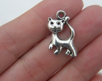 BULK 50 Cat charms antique silver tone CT7