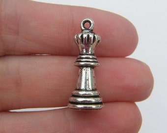 BULK 20 Chess pendants antique silver tone P122