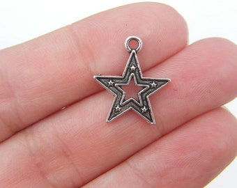 10 Star charms antique silver tone S6