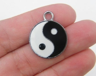 2 Yin and yang black and white enamel charms silver tone I23