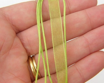 """5 Lime green ribbon voile necklace 46cm 18"""""""