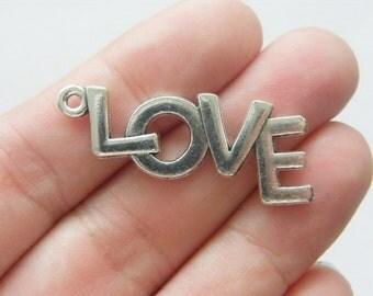 4 Love pendants antique silver tone L19