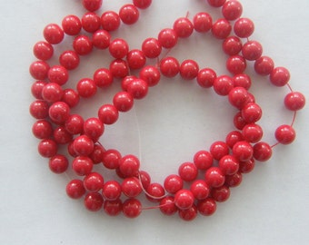 106 Dark red  glass beads B44
