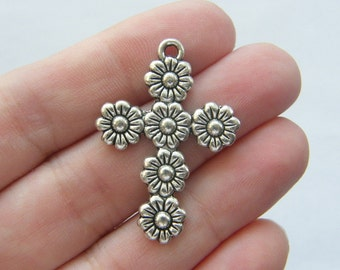 BULK 20 Flower cross pendants antique silver tone C54